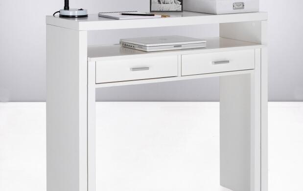 Consola escritorio extensible blanca