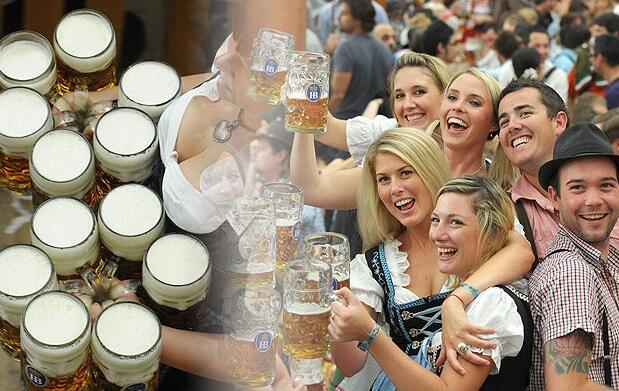 Jarra de cerveza 1/2l y salchicha alemana