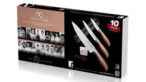 Set de 3 cuchillos + barra magnética Bergner Infinity Chef
